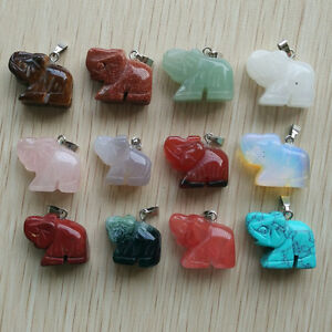 Natural Stone Mixed Carved elephants charms Pendant 12pcs/lot Wholesale free