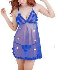Caratcube Blue Lingerie 2 Piece Babydoll Nightwear with G-String (CTC - BD - 22)