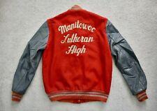 Vtg '84 DELONG Manitowoc Lutheran Red Wool Leather Arm Varsity Jacket 38/40
