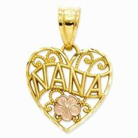 "14K GOLD TWO TONE SMALL FILIGREE "" NANA ""  HEART CHARM PENDANT - 1 GRAM"