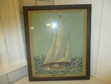 Cross stitch sail  boat, framed under glass. 1968