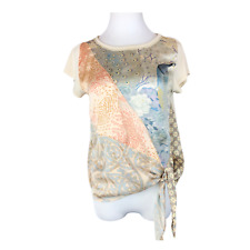 Tiny Anthropologie Size XS Satin Tie Waist Top Short Sleeve Peacock Floral