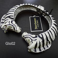 NWT JUICY COUTURE Pave Crystal Black/White Zebra Stripe Bracelet Cuff Bangle NEW