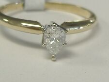 VINTAGE 14 k GOLD .28 CT SI G PEAR DIAMOND ENGAGEMENT RING SIZE 6.5