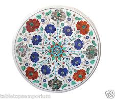 """18""""x18"""" White Marble Coffee Table Top Lapis Lazuli Malachite Art Decor Furniture"""
