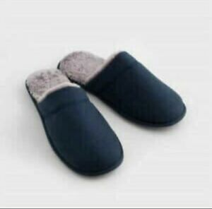 AVON Mens Navy Slipper Mules Size UK 8/9. New Gift Cosy Faux Fur Lining.
