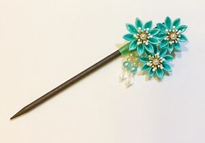 Japanese Kanzashi Hair Stick in Floral Design Lime Green Color