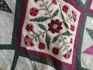 Patchwork Quilt, Americana Panels Hand Quilted, Lap Quilt, Quilt Throw