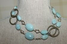 MICHAEL DAWKINS Sterling Link Turquoise Mint Calcite Gemstone Toggle Necklace