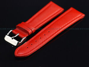 New Genuine OEM Glycine 22MM High Grade Red Leather Strap W/ Signed SS Buckle