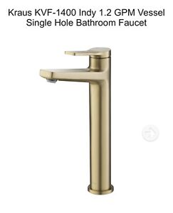 Kraus KVF-1400 Gold Indy Single Handle Vessel Bathroom Faucet New Free Shipping