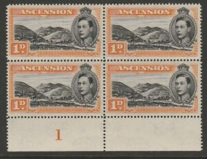 Ascension MINT block GVI 1938-1953 1d black & yellow-orange p14 sg39c selvedge