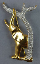 Vtg Swarovski Swan Signed Scs Gold tone Elephant w/ Tree Brooch Pin