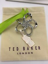 $79 Ted Baker Large Crystal Blossom Brooch Silver Tone #311