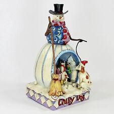 "Jim Shore CHILLY DOG 10"" Figurine 4011060 Children Building Snowman Christmas"