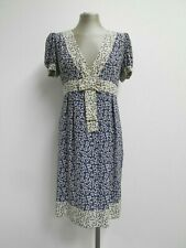 Whistles 100% silk dress contrasting blue & ivory berry pattern empire line UK16
