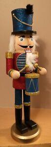 Wooden Nutcracker Walnut DrummerSoldier Christmas Gift Decor Ornament Red Blue