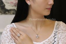 New Fashion 925 Sterling Silver Jewellery Sets Knot Earrings Necklace Ring S 7