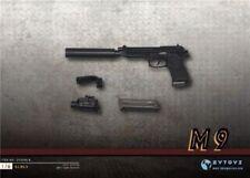 ZYTOYS 1/6 Black M9 Miniature Pistol Silencer Model Plastic Gun Toys