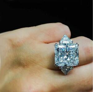Huge 4.20 Ct Cushion Cut White Diamond Fancy Engagement Ring 14k White Gold Over