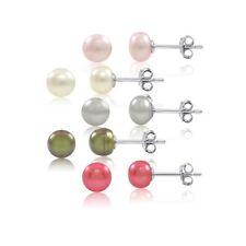 Set of 5 Multi Color Freshwater 6-7mm Pearls Sterling Silver Stud Earrings
