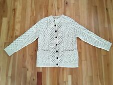 Lovely Hand Knit 100% Wool Fisherman Cable Knit Cardigan Sweater Sz M-L