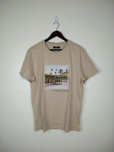 Bershka Men's Cotton Short Sleeve T-shirt 'Anywhere' Chest Print Beige NEW Med.