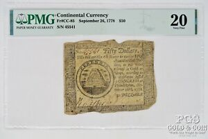 1778 $50 Contintental Currency FR CC85 PMG 20 Very Fine 21382