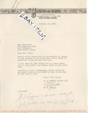 1936 letterhead FORT WORTH TEXAS H. J. Justin & Sons COWBOY BOOTS MAKER signed