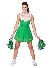 """Ladies """"Cheers"""" Cheerleader Green Fancy Dress St Patricks Costume Cheer Leader"""