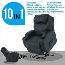 Power Lift Chair Real Leather Recliner Armchair Wall Hugger Lounge Seat Black