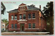 Paola Kansas~Close Up Red Brick City Hall~Windows Open~Ex-Teachers CAN Cook~1910