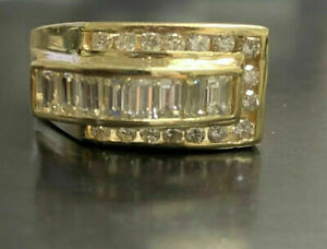 2.4 Ct Diamond Men's Engagement & Wedding Modernist Ring 14K Yellow Gold Over