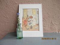 vintage Ida Bohatta-Morpurgo illustration of angel and child nursing a doll 1933