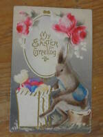 Easter Fantasy Rabbit as Person w/ Eggs Thick Felt Embossed Aibrushed Postcard