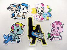 5 Lot TOKIDOKI Stickers  LA Gun Unicorno Ruby Sirena Mozzarella Mooka Blossom
