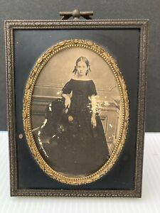 "Antique Victorian 1890's  Bronze Velvet  Back Picture Frame 4 1/2"" x 3 1/2"""