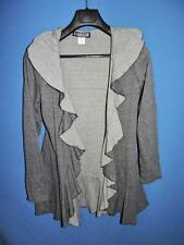 The Pyramid Collection S Gray Open Ruffle Front Knit Shirt Cardigan Long Sleeve