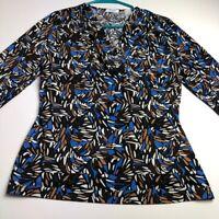 Liz Co Women ¾ Sleeve Blouse Top PL Petite Large Multicolor Stretch Crossover