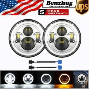 "Chrome 7"" Inch LED Headlights  HI/LO Beam for Chevy C10 Camaro Pickup Truck"
