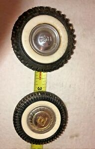2  - 1 -2inch  1- 2 1/4  inch Buddy L Wheels 2 Hubcaps 2 Whitewalls Toy Part