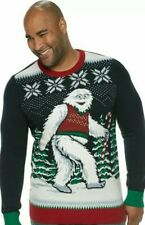 Abominable Snowman Yeti Bigfoot Ugly Christmas Sweater - Men's Xl Lights up