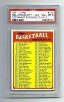 NM-MT 1971 Topps Basketball #144 NBA Checklist graded PSA 8.