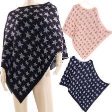 Sterne Damen-Pullover & -Strickware im Ponchos-Stil mit Rundhals-Ausschnitt