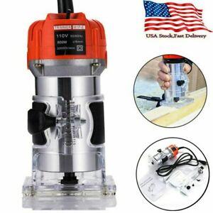 110V 800W 1/4 Electric Hand Trimmer Wood Laminator Router Joiners Tool Set