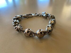 ALEXANDER MCQUEEN Skull Ball Bracelet Silver Brass