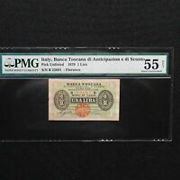 1870 Italy 1 Lira, Pick # Unlisted, PMG 55 Net  About Unc