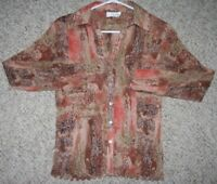 Silk Dress Shirt Le Grange Beige Orange Red Large Women's Long Sleeve Top Woman