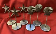 6 Silver Pewter Metal Starfish Seashell Place Card Holders Beach Party