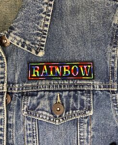 RAINBOW THREAD 1 LINE NAME CUSTOM PERSONALISED PATCH SEW ON BIKER SCOOTER KIDS